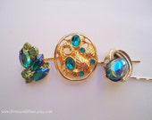 Vintage earrings hair slides - Turquoise aquamarine blue green AB gem gold fancy girl unique jeweled embellish decorative hair accessories