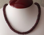 Reserved for Tricia--Garnet Bead Necklace Gemstone 30 Inch Vintage 021617GL