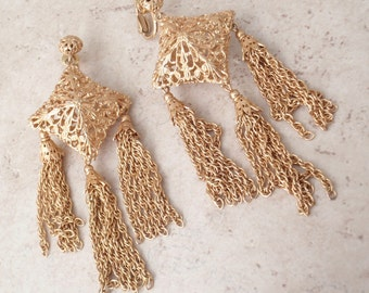 Napier Filigree Earrings Large Geometric Tassels Book Piece Vintage 030416FT