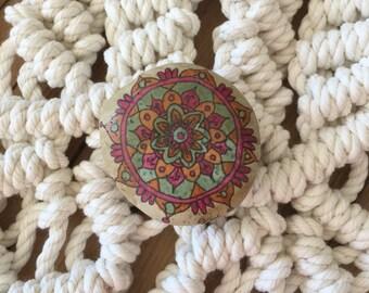 Spirit Stone Mandala Painted Stone Natural Rock Paperweight o