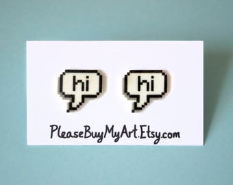 8 Bit Hi Word Bubble Chat Stud Earrings