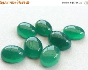 ON SALE 55% Green Onyx Cabochons, Flat Back Plain Cabochons, Green Onyx 8 Pieces, 53.75 Cts Green Onyx Oval Beads, 15.5x11mm - 14x10mm