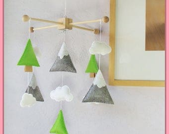 Mountain and Tree Mobile, Baby Mobile, Mountains Nursery, Trees Mobile, Neutral Nursery, Modern Nursery Decor, Lime Green Gray and White