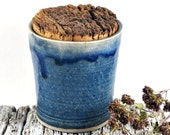 Handmade Ceramic Herb Pot with Cork - Spice Container - Storage Jar - Stoneware Speckled Blue - Unique Pottery Home Decor Kitchenware