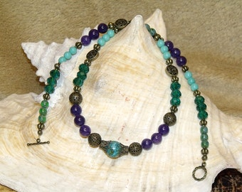 Turquoise Teal Purple Green Bohemian Necklace bronze filigree mixed bead boho hippie chic indie art jewelry