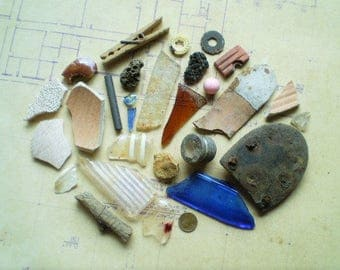 28 Found Objects for Assemblage, Sculpture or Mixed Media - Salvaged Supplies - Wood Metal Stone Ceramic Plastic Glass
