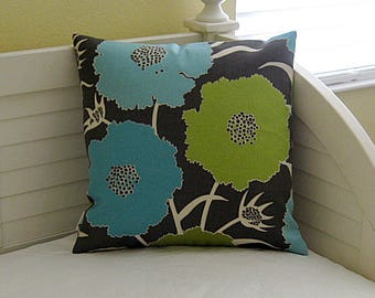 Thomas Paul for Duralee Thicket in Seaglass Modern Flower Design Indoor Outdoor  Pillow Cover