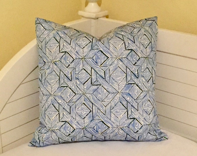Quadrille China Seas Parquetry in French Blue and Navy (on Both Sides)  Indoor Outdoor Pillow Cover - Square, Lumbar and Euro Sizes