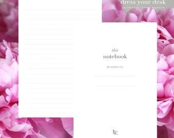 Carnet monogramme personnalisé papier à lettres personnalisé V bande Journal noir blanc objectifs Planner