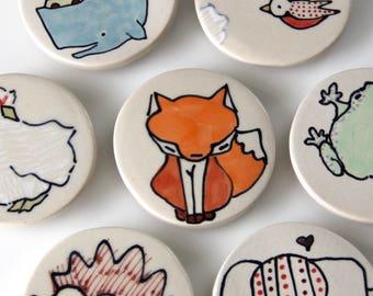 Fox Magnet Handmade Ceramic Refrigerator Magnet Fox Illustration Animal themed Pottery Cute Magnets Small Gifts Under 10
