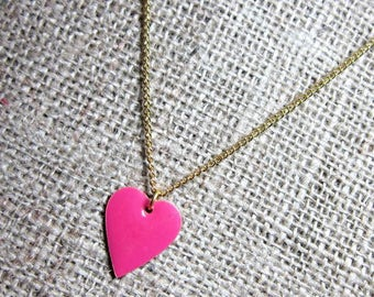 Pink Enamelled Heart Gold Necklace - Brass Heart Pendant on Gold Plated Chain Jewellery Jewelry Valentine's Day