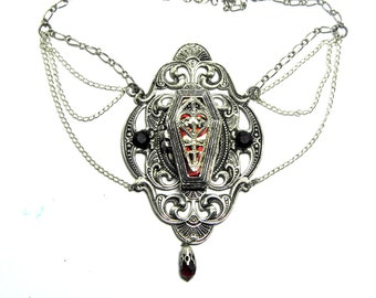 Silver coffin locket necklace, gothic necklace, coffin jewellery, locket pendant, red crystal, gothic locket, silver filigree