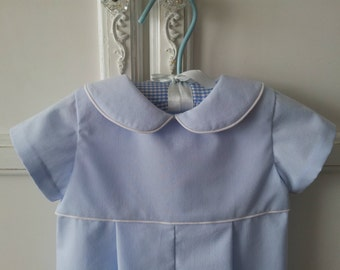 On Sale! Classic Baby Blue Romper size 6 to 12 mo., Sweet and Simple Blue Long Romper, White Piping Trim, One Piece Baby Boy Suit