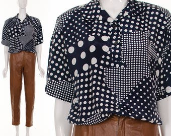 80's Navy Blue POLKA DOT Blouse Slouchy Casual Abstract Geometric Top Small Medium