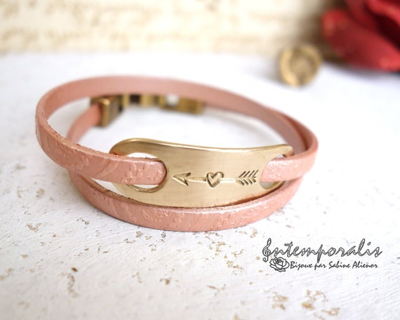 Bronze and pink paisley leather bracelet, heart, OOAK, SABR23