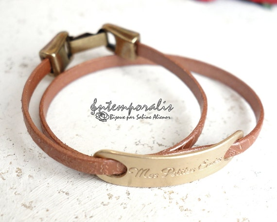 Bronze and brown pearl paisley leather bracelet, Mes petites envies, OOAK, SABR42