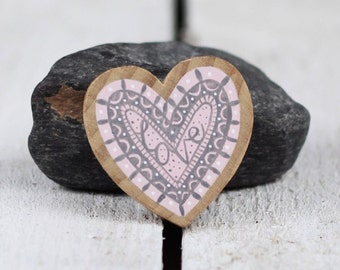 LOVE wooden brooch in pale pink and grey gray hand drawn