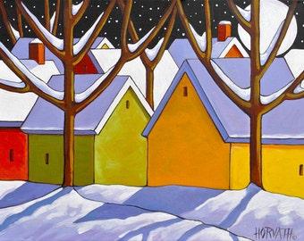 Giclee Winter Night Moon by Cathy Horvath 8x11 Modern Folk Art Print Decor Christmas Snow Landscape Wall Art Archival Artwork Reproduction