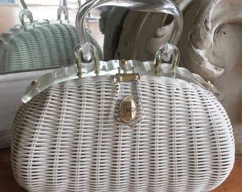 Vintage 1950s - 1960s White Wicker Purse / Handbag Made in Hong Kong