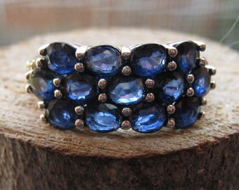 Vintage Sterling Silver Multi-Stone Ring Blue Topaz and Rhinestones Women's Ring Size 8