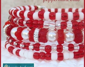 Red Glass White Pearl Wrap Bracelet, Holiday Jewelry, Red and White Jewelry, Pearl Glass Bracelet, Multistrand Coil Cuff, Matching Earrings