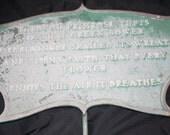 Vintage 1950's Green Cast Iron Garden Sign- Garden Poem Sign