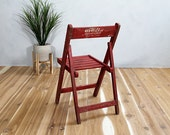 Set of 2 Vintage Red Wood Folding Chairs India Global Accent Handmade Hand Painted
