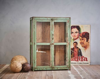 Bar Cabinet Vintage Indian Green Bathroom Cabinet Retail Display Showcase