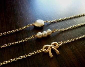 Ribbon Textured Button Glass Pearl Bead Bracelets, Delicate Stacking Bracelets, Layering Bracelets, Charm Bracelets, Minimalist
