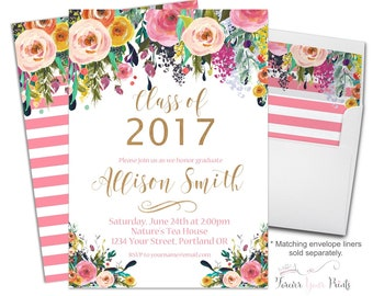 Floral Graduation Invitation Printable or Printed - Graduation Party Invitation - Graduation Invite - Grad Invitation - Grad Invite - Flower
