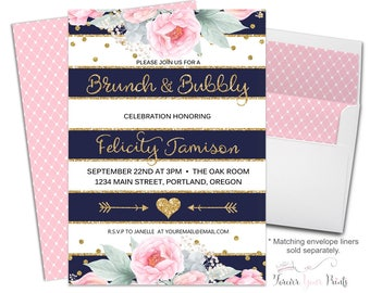 Brunch and Bubbly Invitation, Bridal Shower Invitation, Bridal Luncheon Invitation, Navy and Gold, Navy Stripes, Flowers, Gold Glitter