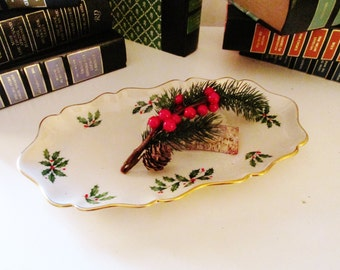 Vintage Lenox Holiday Tray, Holly Leaves, Porcelain Relish Dish, Lenox Holly and Berries, Candy Dish, Christmas Table Decor, 24K Gold