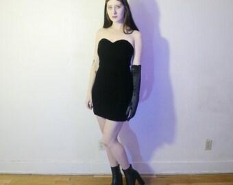 vtg 80s black velvet heart shape bodice mini dress size small