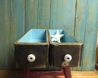 Vintage Drawer Display Shelf Tray Set of 2 Turquoise Brown Storage Organizer by CastawaysHall - Ready to Ship