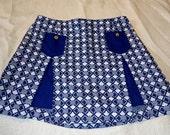 Blue Diamonds GOGO Vintage 1960's Women's MINI Skirt Skort S M