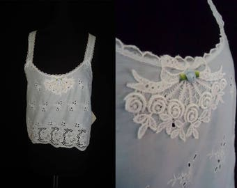 Blue Sheer Openwork Embroidered Vintage 1980's Women's Camisole Top M