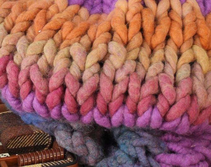 "Super Chunky Blanket/Throw - Squishy Yarn - Merino/Bamboo 24"" x 48"" ( BL2)"