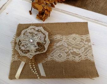 Rustic Wedding Burlap Guest Book