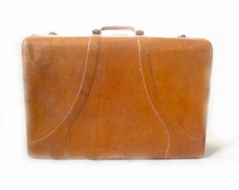 Vintage leather suitcase – Etsy