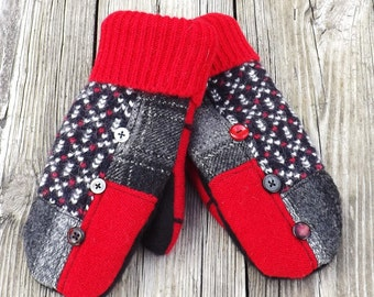 Sweater Mittens Small Fleece lined Recycled Wool Mittens Red Black Gray Patchwork Warm Cozy Winter Gear, Christmas Gift, Womans Outerwear 41