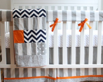 Gray and Orange Navy Stripe Bumperless Crib Bedding Set