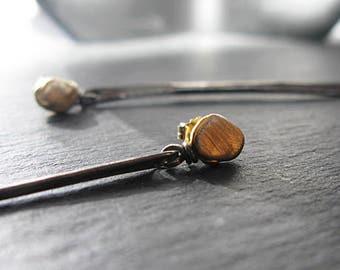 Gold Stick Earrings Black Earrings Dangle Earrings Gold Pebble Earrings Black Stick Earrings Vertical Bar Earrings Modern Gift Minimalist