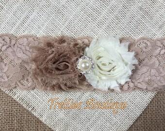 Ivory Tan Chiffon Lace Headband- Beige Lace Headband- Champagne Lace Headband- Vintage Headband- Flower Girl Headband