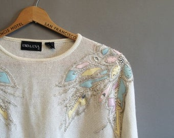 80s vintage slouchy tunic sweater with leather patches and rhinestones
