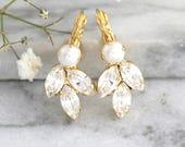 Bridal Pearl Earrings, Bridal Earrings, Bridal Crystal Earrings, Bridesmaids Earrings, Swarovski Crystal Earrings, Gift For Her.