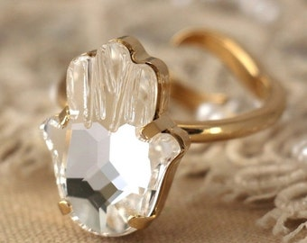 Hamsa Crystal Ring, Hand of fatima Ring, Swarovski Crystal Ring, Amulet Ring, Evil eye ring, Trending jewelry, White Crystal Gold ring.
