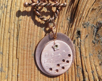 C-56 Copper Layered Pendant Necklace, Coppersmith, Copper Pendant, Copper Jewelry, Copper Necklace, Metalsmith Jewelry