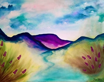 LARGE Original Abstract Painting, Acrylic, Mountain Scenic Landscape, Glitter Painting, Contemporary Art, Wildflowers, Flower, Cloud 40 x 30