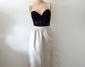 ON SALE Vintage Linen Skirt / a-line skirt with side buttons