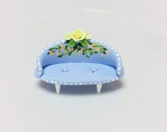 Doll house floral sofa in pale blue for 1:48 scale handmade from polymer clay